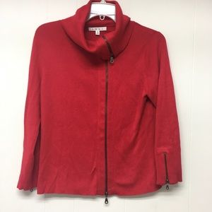 CAbi Red Cardigan Sweater Zip Front M Funnel Neck